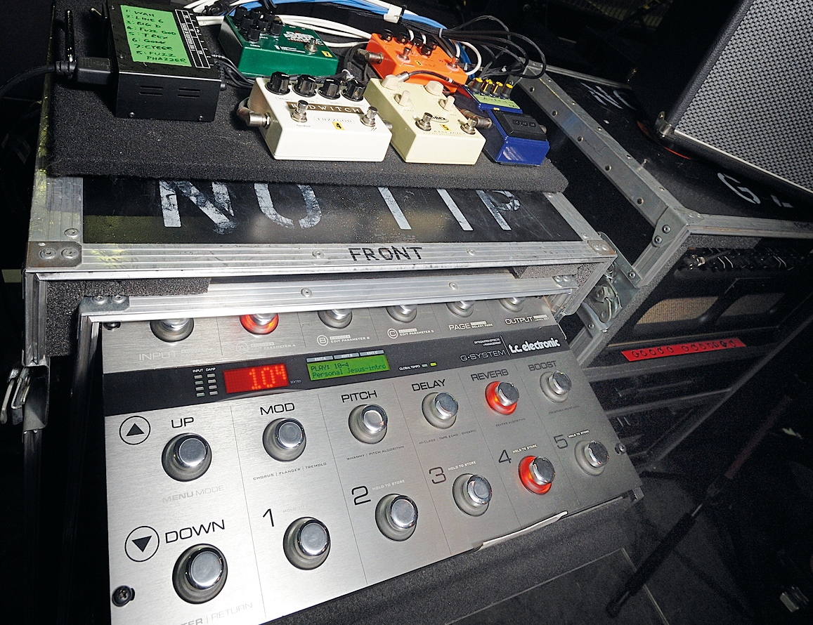Guitar Pedals on Stage And a Fuzz Pedal on Stage